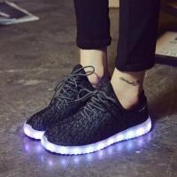Кроссовки со светящейся LED подошвой (33, шнурки, сетка)