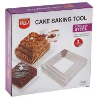 Формы для тортов, набор 3 штуки, квадратные (20см, 15cм, 10см)
