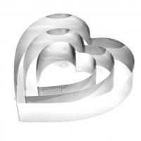 Формы для тортов, набор 3 штуки, сердце (20см, 15cм, 10см)