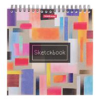 Тетрадь-скетчбук альбом для эскизов 17 х 17 см, 40 листов на гребне ErichKrause Абстракция, жёсткая подложка, блок 120 г/м2
