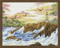 Алмазная мозаика 40х50 Чайки над водой