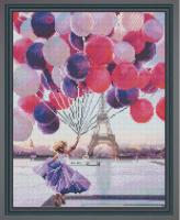 Алмазная мозаика 40х50 Девочка с шарами в Париже