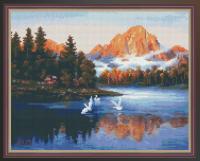 Алмазная мозаика 40х50 Лебеди в горах
