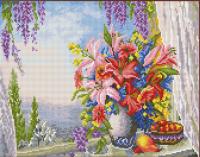 Алмазная мозаика 40х50 Лилии на окне