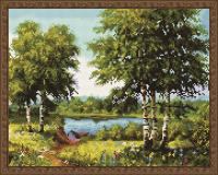 Алмазная мозаика 40х50 Озеро в лесу