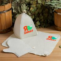Банный набор шапка, коврик и рукавица Для любителей баньки