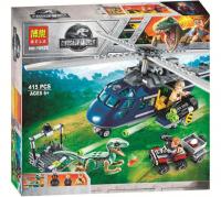 Конструктор ЛЕГО LEGO Парк Юрского Периода BELA 10925 Погоня за Блю на вертолёте, 415 дет