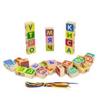 Деревянный конструктор Шнуровка азбука 33 детали