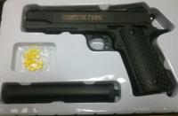 Детский пневматический металлический пистолет С10А+ глушитель (кольт)