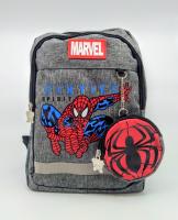 Детский рюкзак человек паук с кошельком серый
