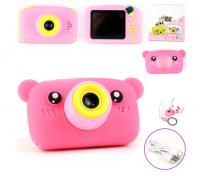 Детский цифровой фотоаппарат X500 мишка розовый