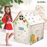 Картонный домик раскраска Домик новогодний
