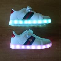 Кроссовки со светящейся LED подошвой (белые, 27, шнурки + липучка ДИЗАЙН)
