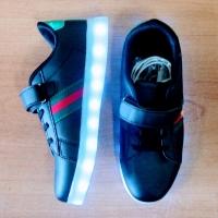 Кроссовки со светящейся LED подошвой (черные, 34, шнурки+липучка ДИЗАЙН)