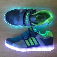 Кроссовки со светящейся LED подошвой (серый спорт, 33)