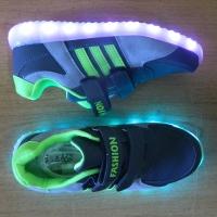 Кроссовки со светящейся LED подошвой (серый спорт, 34)