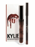 АКЦИЯ! Набор жидкая губная матовая помада + карандаш для губ KYLIE цвет TRUE BROWN K