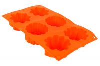 Форма для выпечки силиконовая, 6 ячеек, Цветы