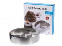 Формы для тортов, набор 3 штуки, круглые (20, 15, 10 * 4,5 см)