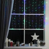 Гирлянда Занавес, 1.5 х 1 м, LED, 8 режимов, нить прозрачная, свечение мульти
