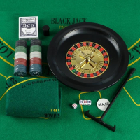 Покер + рулетка (карты 54 шт, фишки 100 шт, б/номин, кубики 4 шт, поле 33х29 см)
