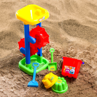Игрушки для песочницы набор ведро, мельница, совок, грабли, 2 формочки, СМЕШАРИКИ