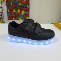 Кроссовки со светящейся LED подошвой (черные, 33, липучки)