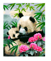 Картина по номерам 40 х 50 ZX 20538 Панды в цветах