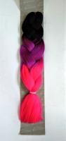 Конеколон коса Jumbo Braid цвет М54 черный, фиолетовый, розовый