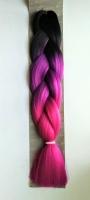Конеколон коса Jumbo Braid цвет М55 черный фиолетовый розовый