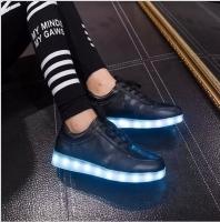 Кроссовки со светящейся LED подошвой (черный, 38, шнурки)