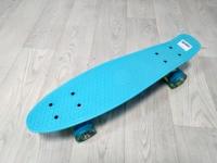 Скейтборд круизер голубой (колеса светятся)