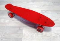 Скейтборд круизер красный (колеса светятся)