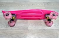 Скейтборд круизер розовый (колеса светятся)