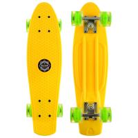 Скейтборд круизер желтый колеса светятся