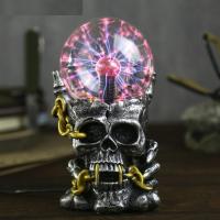 Лампа плазменный шар Череп с цепью