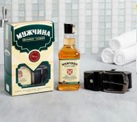 Подарок мужчине Набор Сильный и смелый гель для душа 250 мл аромат мужского парфюма, ремень