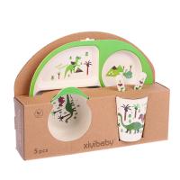 Набор детской посуды из бамбука Динозаврики, 5 предметов: тарелка, миска, стакан, столовые приборы