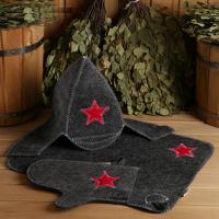 Набор для бани Буденовец серый шапка, коврик, рукавица