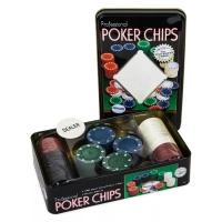 Покерный набор в железной коробке без карт 100 фишек