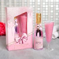 Подарок женщине Набор Расцветай от счастья гель для душа 250 мл аромат шампанского, соль в бокале 150 г