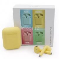Беспроводные наушники Inpods TWS i12 с кейсом желтые