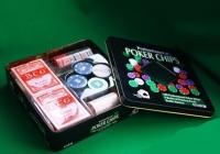 Покерный набор в железной коробке с 2-мя колодами карт, 100 фишек
