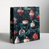 Пакет ламинированный «Новогодние игрушки», 26 × 30 × 9 см