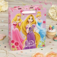Пакет подарочный День рождение принцессы!, Принцессы, (ламинир, 23 х 27 х 11.5 см)