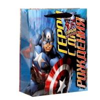 Пакет подарочный Герой С Днем Рождения, (ламинир,23 х 27 см) + мини-открытка