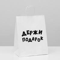 Пакет подарочный крафт Держи подарок 24 х 14 х 30 см