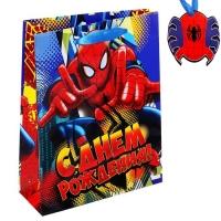 Пакет подарочный С Днем Рождения, Человек-Паук, (ламинир., 23х 27 см) + мини-открытка