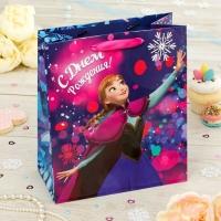 Пакет подарочный С Днем рождения!, Холодное сердце, (ламинир, 23 х 27 х 11.5 см)