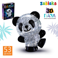 Пазл 3D кристаллический Панда, 53 детали, световой эффект